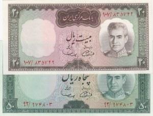 Iran, 20 Rials and 50 Rials, 1969, UNC, p84/ p85a, (Total 2 Banknotes)