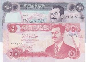 Iraq, 5 Dinar and 250 Dinar, 1992 / 1995, AUNC / UNC, p80 / p85, (Total 2 banknotes)