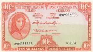 Ireland Republic, 10 Shillings, 1968, UNC, p63a