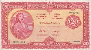 Ireland Republic, 20 Pounds, 1972, VF, p67b