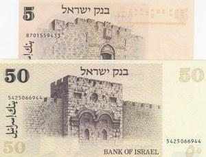 Israel, 5 Lirot and 50 Sheqalim, 1973/1798, UNC, p38/p46, (Total 2 banknotes)