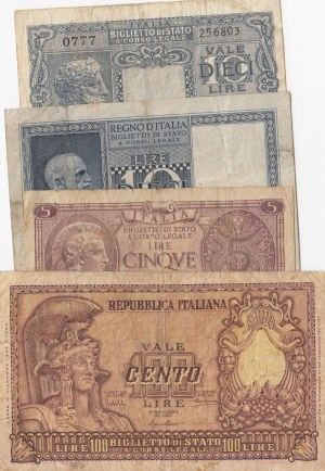 İtaly, 5 Lire, 10 Lire (2) and 100 Lire, 1935/1944/1951, FINE / VF, p25/p31/p32/p92, (Total 4 banknotes)