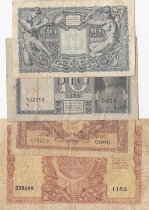 İtaly, 5 Lire, 10 Lire (2) and 100 Lire, 1935/1944/1951, FINE / VF, p25/p31/p32/p92, (Total 4 banknotes)