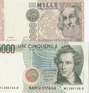 İtaly, 1000 Mille and 5000 Lire, 1982/1985, UNC, p109/p111, (Total 2 banknotes)