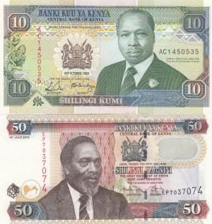 Kenya, 10 Shillings and 50 Shillings, 1989 / 2010, UNC, p24a  / p47e, (Total 2 banknotes)