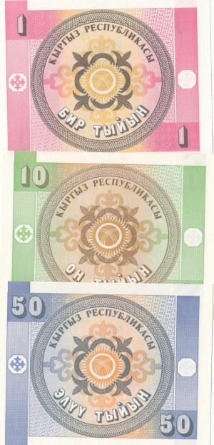 Kyrgyzstan, 1 Tyiyn, 10 Tyiyn and 50 Tyiyn, 1993, UNC, p1/p2/p3, (Total 3 banknotes)