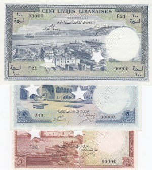 Lebanon, 1 Livre, 5 Livres and 100 Livres, 1952-1964, UNC, p55s2/ p56s2/ p60s2, SPECIMEN