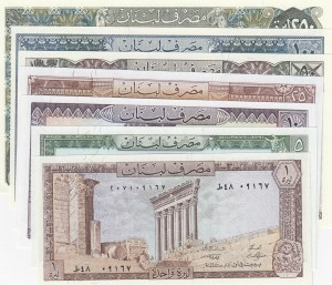 Lebanon, 1 Livres, 5 Livres, 10 Livres, 25 Livres, 50 Lives, 100 Livres and 250 Livres, 1964-1978, UNC, p61-67, (Total 7 banknotes)