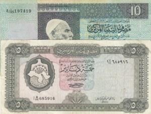 Libya, 5 Dinars and 10 Dinars, 1971/1991, XF, p36/p61b, (Total 2 banknotes)