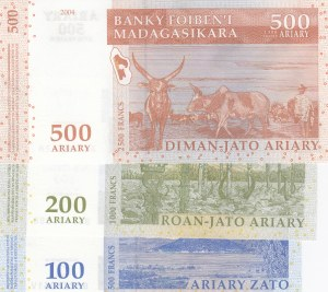Madagascar, 100 Ariary, 200 Ariary and 500 Ariary, 2004, UNC, p86/p87/p88, (Total 3 banknotes)
