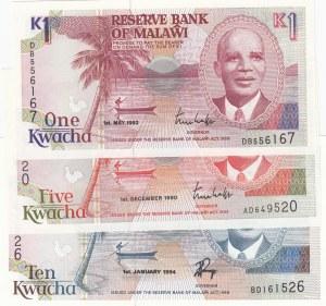 Malawi, 1 Kwacha, 5 Kwacha ve 10 Kwacha, 1992/ 1990/ 1994, UNC, p23b/ p24a/ p25c, (Total 3 Banknotes)