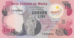 Malta, 10 Liri ( Pound ), 1967, UNC, p36a