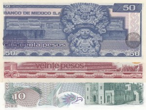 Mexico, 10 Pesos, 20 Pesos and 50 Pesos, 1977/1981, UNC, p63i/p64d/p73, (Total 3 banknotes)