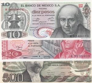 Mexico, 3 Pieces UNC Banknotes