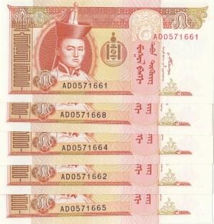 Mongolia, 5 Tugrik, 2008, UNC, p61Ba, (Total 5 Banknotes)
