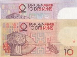 Morocco, 10 Dirhams (2), 1987-1991, XF / UNC, p60b / 63b, (Total 2 banknotes)