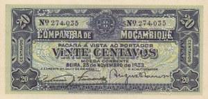 Mozambique, 20 Centavos, 1933, UNC, pR29, CANCELLED