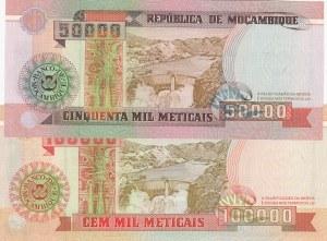 Mozambique, 50000 Meticais and 100000 Meticais, 1993, UNC, p138/ p139, (Total 2 Banknotes)