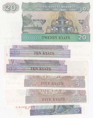 Mianmar, 1 Kyat, 5 Kyat (2), 10 Kyat (2) and 20 Kyat, 1994/1996, UNC, p69 / p70 /p71 / p72, (Total 6 banknotes)