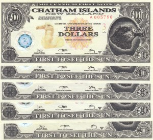 New Zealand (Chatham Islands), 5 Pieces UNC Banknotes