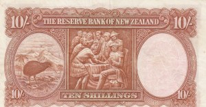 New Zealand, 10 Shillings, 1940-1955, VF, p158a