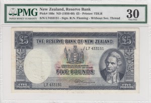 New Zealand, 5 Pounds, 1956-1960, VF, p160c, (PMG 30)