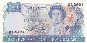 New Zealand, 10 Dollars, 1990, UNC, p176