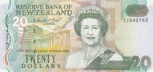 New Zeland, 20 Dollars, 1992, XF, p179