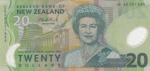 New Zeland, 20 Dollars, 2004, UNC, p187b