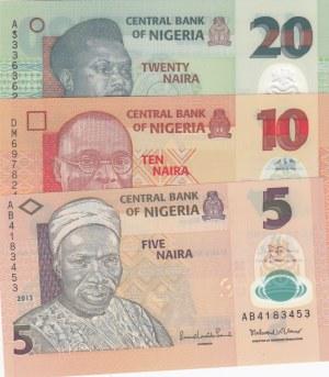 Nigeria, 5 Naira, 10 Naira and 20 Naira, 2012 / 2017, UNC, p38/ p39/ p34, (Total 3 banknotes)
