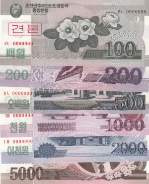 North Korea, 100 Won, 200 Won, 500 Won, 1000 Won, 2000 Won and 5000 Won, 2008, UNC, SPECIMEN, (Total 6 banknotes)