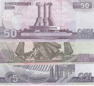 North Korea, 5 Won, 10 Won and 50 Won, 2002, UNC, SPECIMEN, (Total 3 banknotes)