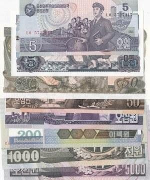 North Korea, 5 Won (2), 50 Won (3), 200 Won, 1000 Won and 5000 Won (2), 1978/2006, UNC, (Total 9 banknotes)