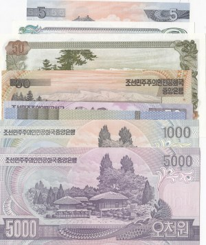 North Korea, 5 Won (2), 50 Won (3), 200 Won, 1000 Won and 5000 Won (2), 1978/2006, UNC, (Total 9 banknotes)