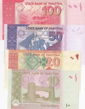 Pakistan, 10 Rupees, 20 Rupees, 50 Rupees and 100 Rupees, 2012/2016, UNC, (Total 4 banknotes)