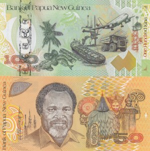 Papua New Guinea, 50 Kina and 100 Kina, 1989 / 2008, UNC, p11 / p37, (Total 2 banknotes)