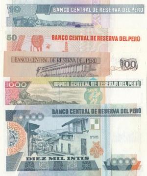 Peru, 10 İntis, 50 İntis, 100 İntis, 1000 İntis and 10.000 İntis, 1987/1988, UNC, (Total 5 banknotes)
