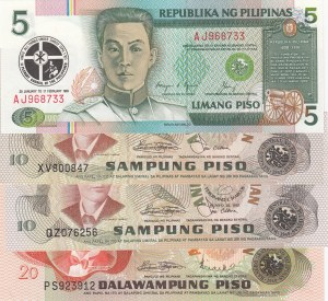 Philippines, 5 Piso, 10 Piso, 10 Piso and 20 Piso, 1991/ 1981, UNC, p179/ p161b/ p167a/ p162a, (Total 4 Banknotes)