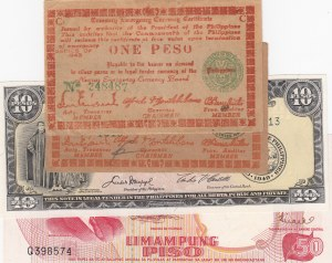 Philippines, 4 Pieces Mixing Condition Banknotes