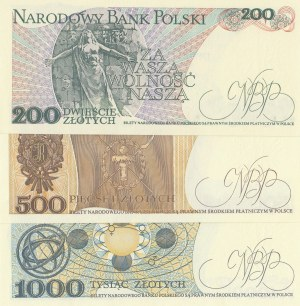 Poland, 200 Zlotych, 500 Zlotych and 1000 Zlotych, 1982/1988, UNC, p144/p145/p146, (Total 3 banknotes)