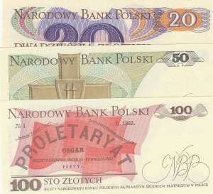 Poland, 20 Zlotych, 50 Zlotych and 100 Zlotych, 1982/ 1988/ 1988, UNC, p149a/ p142c/ p143e, (Total 3 Banknotes)