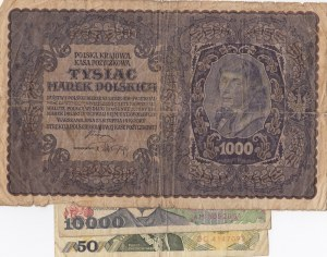 Poland, 50 Zlotych, 1000 Marek and 10.000 Zlotych, 1982/ 1919/1988, (Total 3 banknotes)
