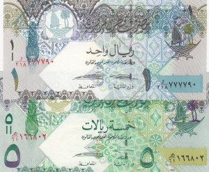 Qatar, 1 Riyal and 5 Riyals, 2003, UNC, p20/p21, (Total 2 banknotes)