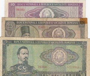 Romania, 10 Lei, 25 Lei and 50 Lei, 1966, FINE / VF, p94/p95/p96, (Total 3 banknotes)