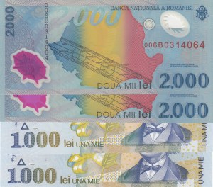 Romania, 1000 Lei and 2000 Lei, 1998/ 1999, UNC, p106/ p111a, (Total 5 Banknotes)