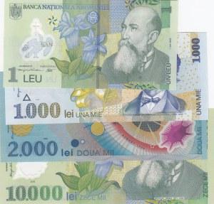 Romania, 1 Lei, 1000 Lei, 2000 Lei and 10000 Lei, UNC, p117i/ p106/ p111a/ p112a, (Total 4 Banknotes)