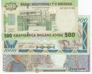 Rwanda, 500 Francs, 1000 Francs and 5000 Francs, 2004/ 1988/ 1988, UNC, p30/ p21a/ p22a, (Total 3 Banknotes)