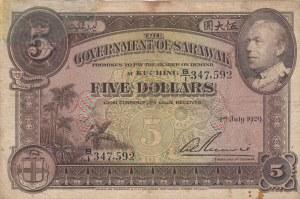 Sarawak, 5 Dollars, 1929, VF, p15