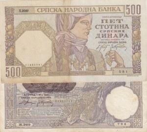 Serbia, 100 Dinara and 500 Dinara, XF (-) / AUNC (-), 1905 / 1941, p12 / p27, (Total 2 banknotes)