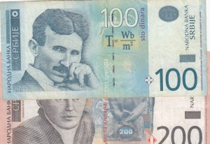 Serbia, 100 and 200 Dinara, 2012-2013, VF/XF, p57/p58, (Total 2 banknotes)